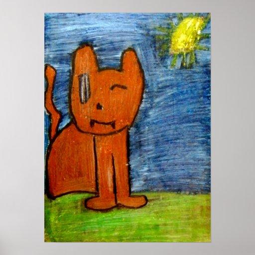 gato anaranjado con el sol en fondo poster