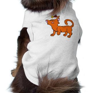 Gato anaranjado de la acción de gracias con el playera sin mangas para perro