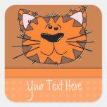 Gato anaranjado de la raya del tigre de los niños calcomanía cuadradas