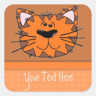 Gato anaranjado de la raya del tigre de los niños pegatina cuadrada