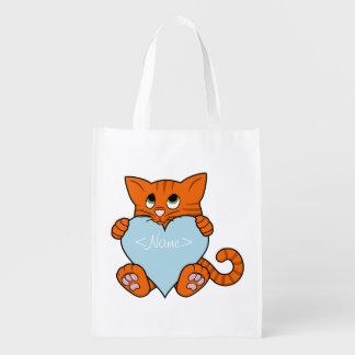 Gato anaranjado del el día de San Valentín con el Bolsa Reutilizable