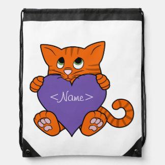 Gato anaranjado del el día de San Valentín con Mochilas
