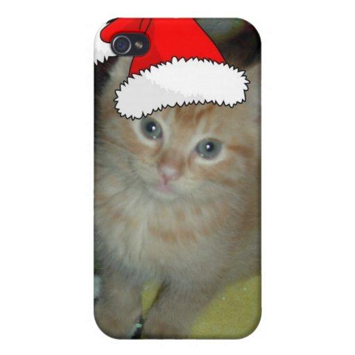 Gato anaranjado del gatito del Tabby del navidad iPhone 4 Carcasas