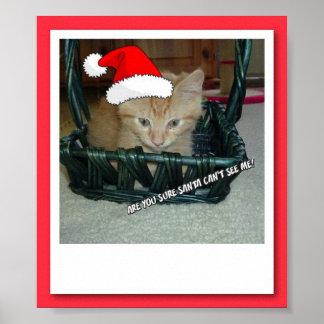 Gato anaranjado del gatito del Tabby del navidad Póster