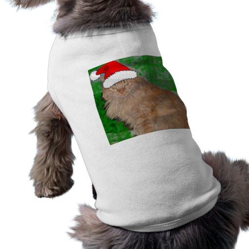 Gato anaranjado del gatito del Tabby del navidad Camisas De Mascota