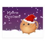 Gato anaranjado del gatito del tabby del navidad postal
