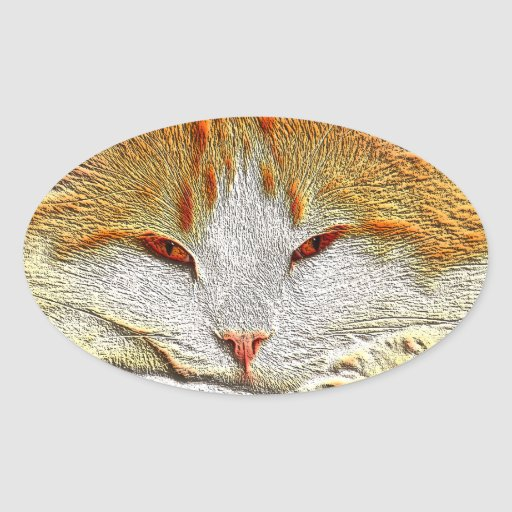 Gato anaranjado del gatito pegatina ovalada