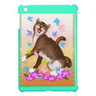 Gato anaranjado feliz e iPad suave mini C de las m