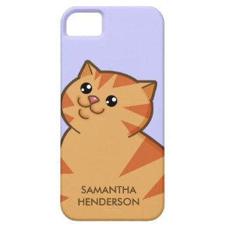 Gato anaranjado gordo feliz iPhone 5 carcasa