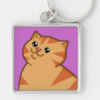 Gato anaranjado gordo feliz llavero cuadrado plateado