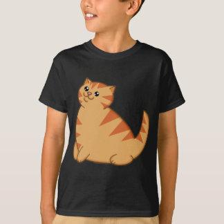 Gato anaranjado gordo feliz playera