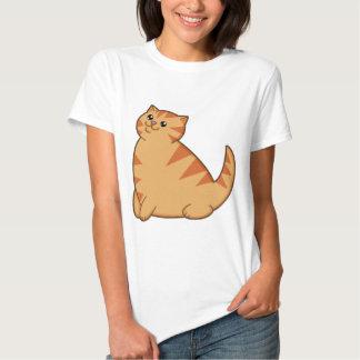 Gato anaranjado gordo feliz playeras