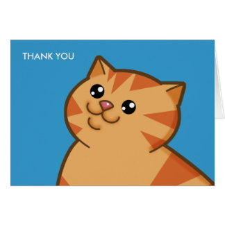 Gato anaranjado gordo feliz tarjeta pequeña