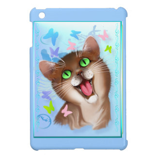 Gato anaranjado grande y caso del iPad suave de la