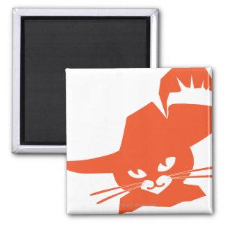 Gato anaranjado imán cuadrado