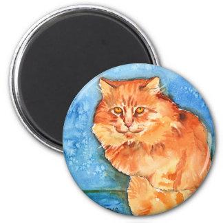 Gato anaranjado imán redondo 5 cm