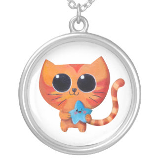 Gato anaranjado lindo con la estrella grimpolas personalizadas