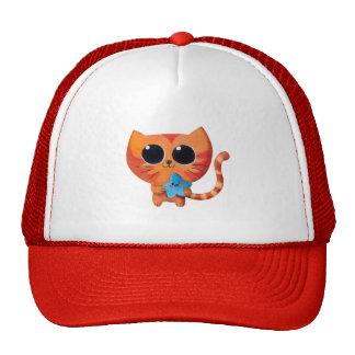 Gato anaranjado lindo con la estrella gorros bordados