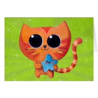Gato anaranjado lindo con la estrella tarjeta de felicitación
