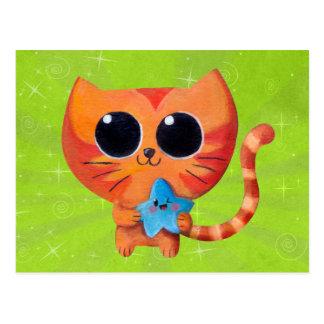 Gato anaranjado lindo con la estrella postal