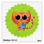 Gato anaranjado lindo con la estrella vinilo adhesivo