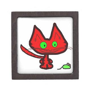 Gato anaranjado lindo del gatito y su juguete del  caja de recuerdo de calidad