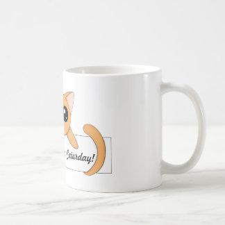 Gato anaranjado lindo taza clásica