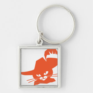 Gato anaranjado llavero cuadrado plateado
