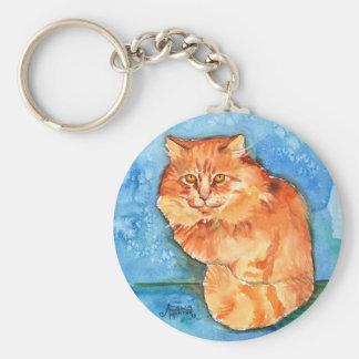 Gato anaranjado llavero redondo tipo pin