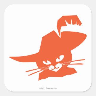 Gato anaranjado pegatina cuadrada