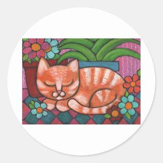 Gato anaranjado pegatina redonda