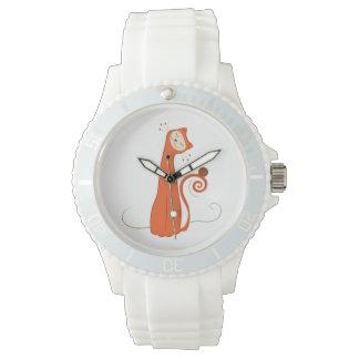 Gato anaranjado reloj