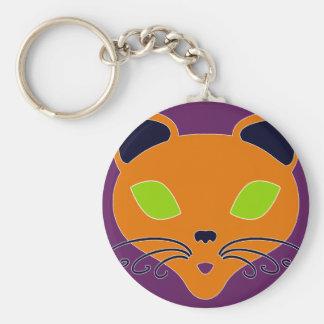 Gato anaranjado retro de Halloween de la cal Llavero Personalizado