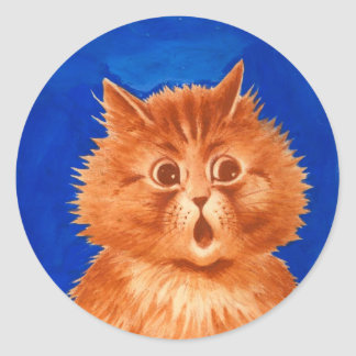 Gato anaranjado sorprendido Wain de Louis Pegatina Redonda