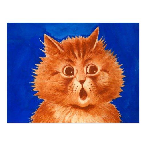 Gato anaranjado sorprendido Wain de Louis Postal