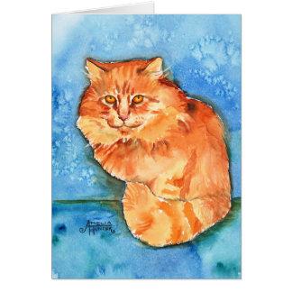 Gato anaranjado tarjeta de felicitación