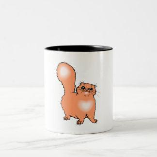 Gato anaranjado taza de dos tonos