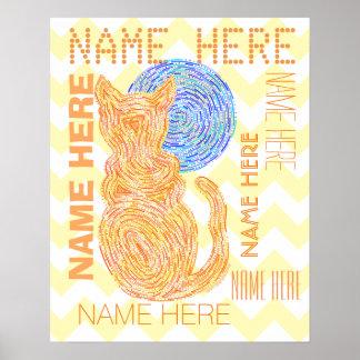 Gato anaranjado y el amante Chevron del gato de la Póster