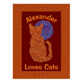 Gato anaranjado y el gatito felino del amante del tarjetas postales