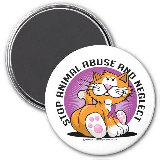 Gato animal del abuso imán redondo 7 cm