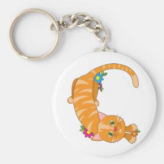 Gato animal del alfabeto llavero redondo tipo pin