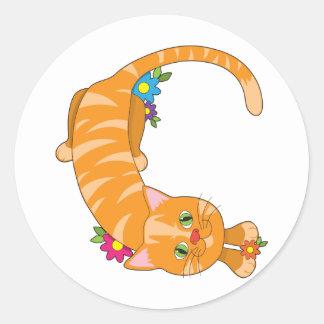 Gato animal del alfabeto pegatina redonda