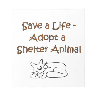 Gato animal del refugio del rescate de la adopción bloc de notas