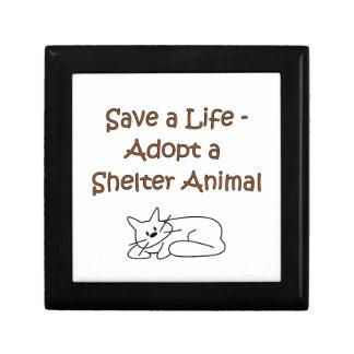Gato animal del refugio del rescate de la adopción caja de joyas