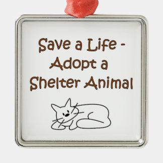 Gato animal del refugio del rescate/de la adopción ornamento para arbol de navidad