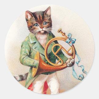 Gato antropomorfo lindo con la trompa pegatina redonda