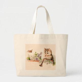 Gato antropomorfo que juega el cuerno - arte del bolsa tela grande