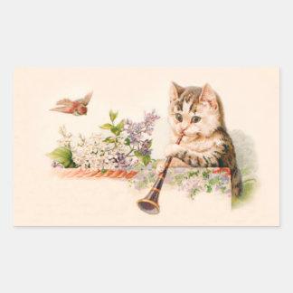 Gato antropomorfo que juega el cuerno - arte del pegatina rectangular