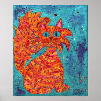 Gato ardiente en la turquesa póster