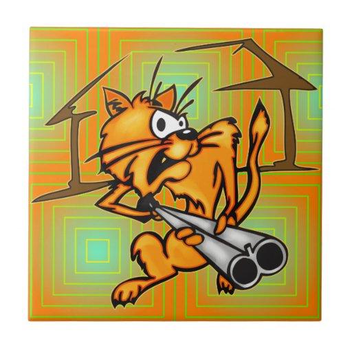 Gato armado y peligroso tejas  cerámicas